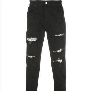 Amiri Black Sequin Zebra Skinny Jeans